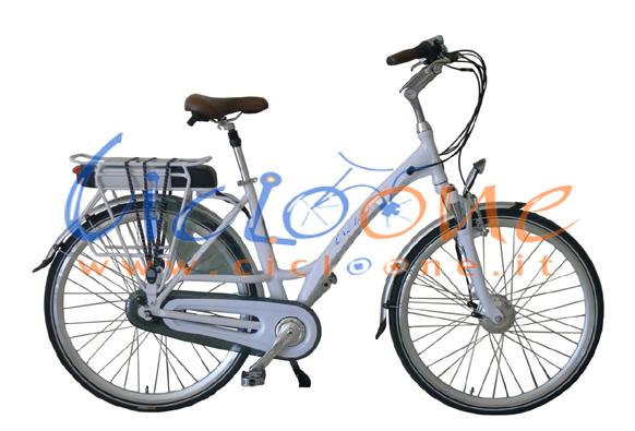 Bicicletta elettrica Chiara elegante telaio bianco