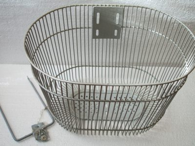 cestino anteriore bici elettrica metallo bianco