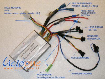 schema centralina 36V con chiave accensione accelleratore