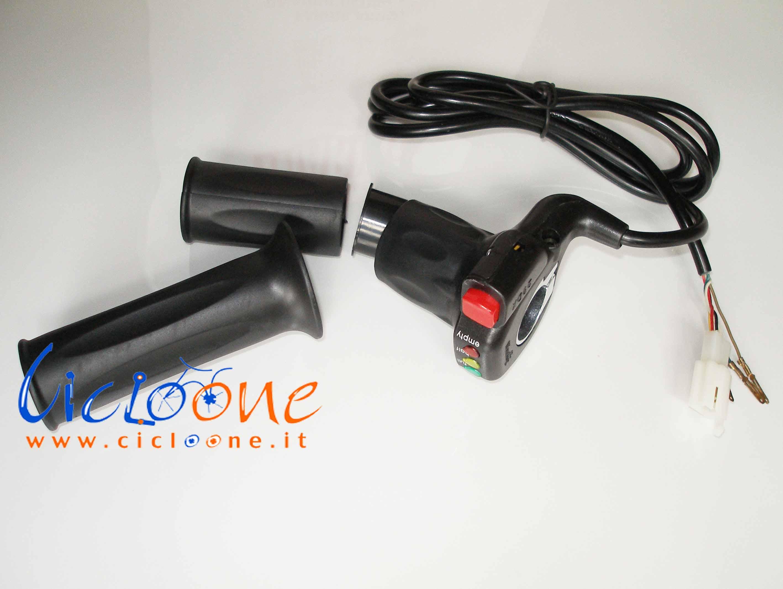 manettino gas bici elettrica scooter monopattino con pulsante rosso