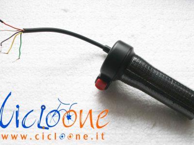 acceleratore bici elettrica nero con pulsante