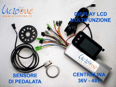 display lcd sensore pedalata centralina kit bici