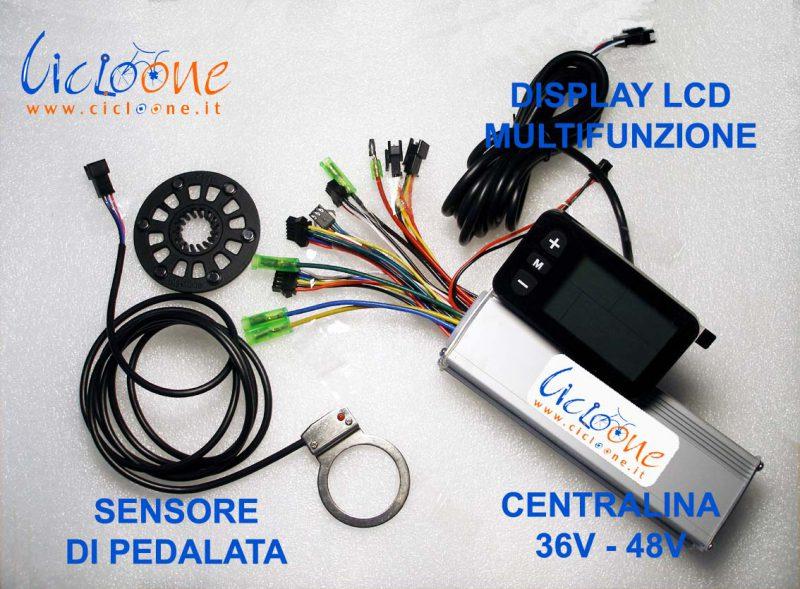 display lcd sensore pedalata centralina kit bici
